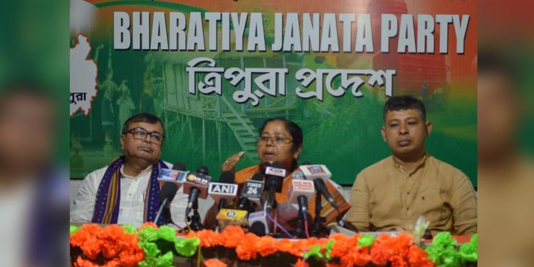 MP Pratima Bhowmik and others addressing the media in Agartala. Image: Northeast Now