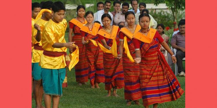 A dance by the Hajong, one of the minority tribes in Meghalaya. Image credit: The Hindu