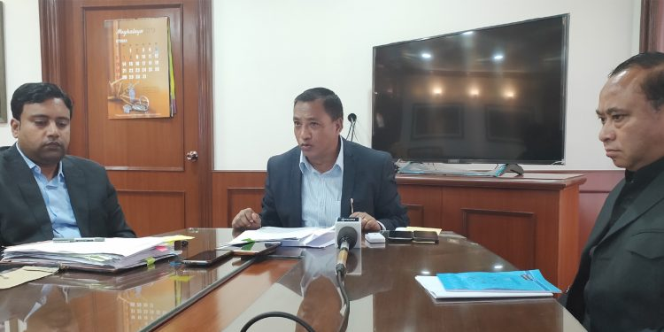 A L Hek while speaking to reporters in Shillong on Tuesday. Image: Northeast Now