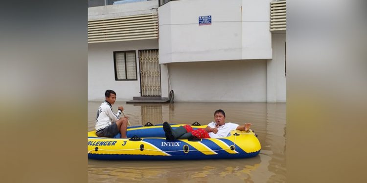 A flooded street of Diphu. Image: Northeast Now