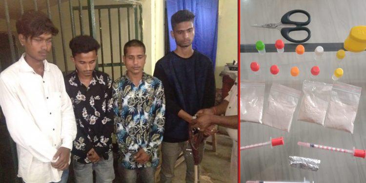 Four drug peddlers apprehended by Dibrugarh police. Image credit: Twitter