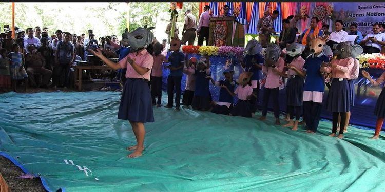 Students of Bahbari High School performing stage play. Image credit: WTI