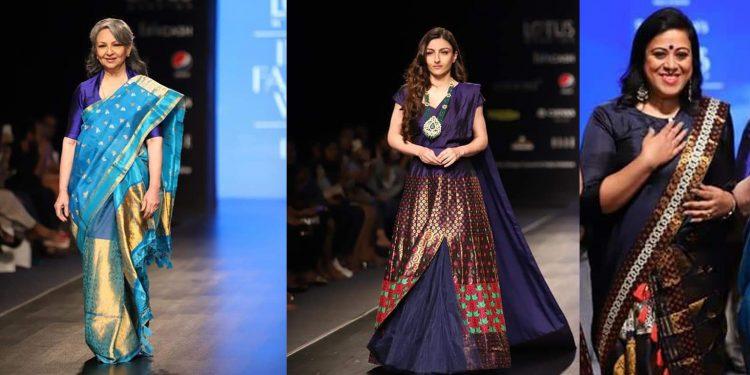 Veteran actor Sharmila Tagore (Left), Soha Ali Khan (Centre) walk the ram wearing designs of Sanjukta Dutta (Right)