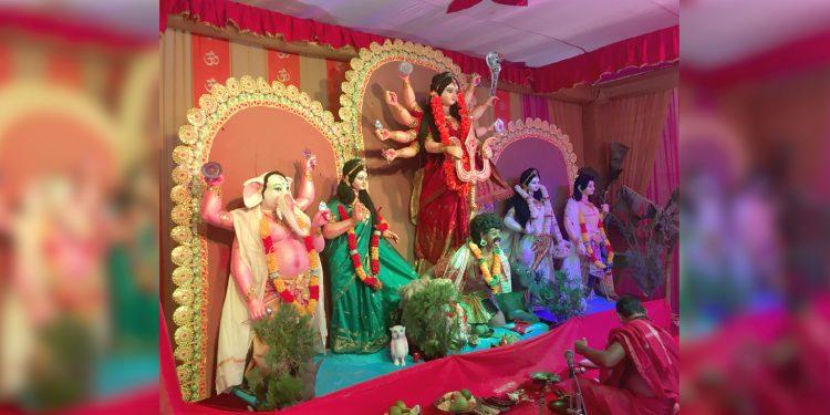 Goddess Durga in Mekhela Sador