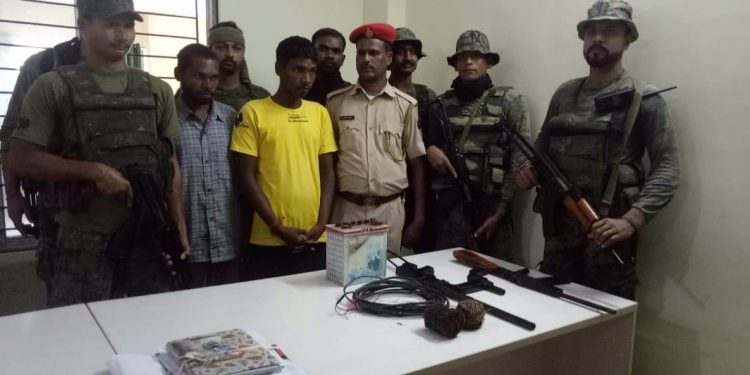 Assam police and CRPF in a joint operation on Friday morning apprehended two Adivasi rebels from Goabari area.