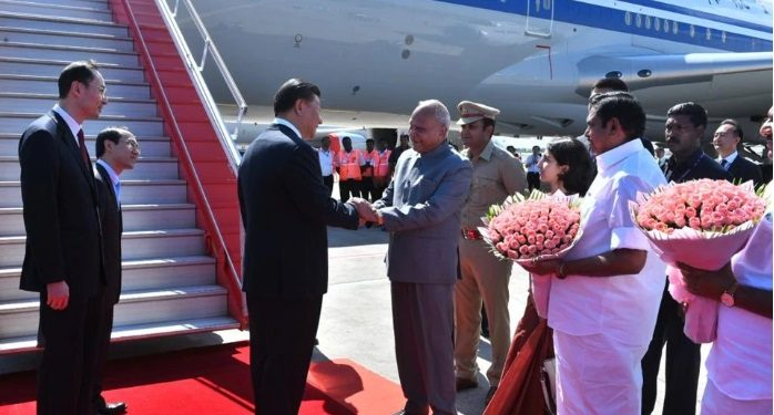 Chinese President Xi Jinping was received by state governor Banwarilal Purohit, chief minister K. Palaniswami, deputy chief minister O Panneerselvam and others.
