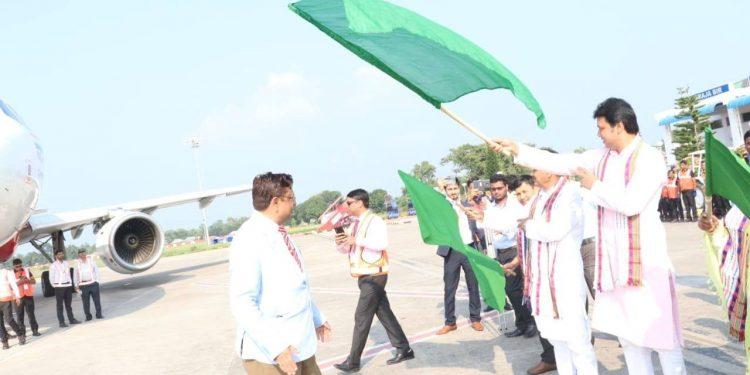 Tripura CM Biplab Kumar Deb flaggs off the AirAsia operations at Maharaja Bir Bikram (MBB) Airport in Agartala on Sunday.