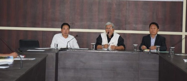 Advisor Urban Development and Kohima DPDB Chairman, Dr Neikiesalie Nicky Kire chairing the DPDB meeting at DPDB Conference Hall on October 15, 2019. Image:  DIPR