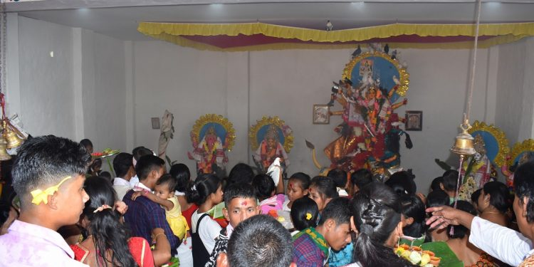 Devotees paying obeisance to Goddess Durga. Image: Northeast Now
