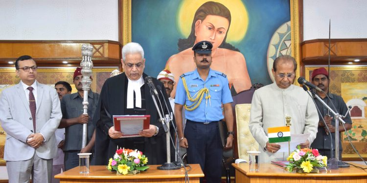 Justice Ajay Lamba was administered the oath of office by Assam Governor Jagdish Mukhi at Raj Bhavan in Guwahati on Monday.