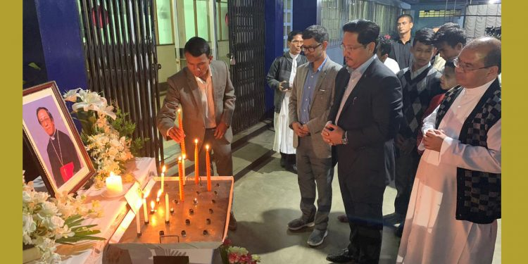 Meghalaya Chief Minister Conrad K Sangma paying tributes to Archbishop late Dominic Jala at Archbishop House in Shillong on Monday evening. Image: Northeast Now