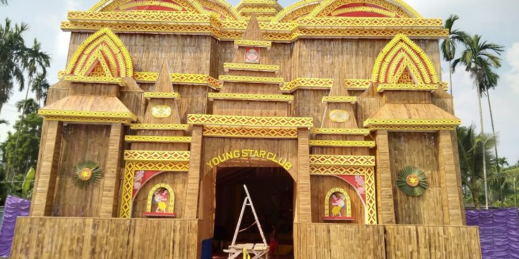 A general view of the 'Durga Puja' pandal of Young Star Club, Sarabajanin Durga Puja Committee in Nobinpolly locality of Tangla town in Udalguri district. Image: Northeast Now
