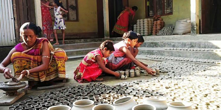 Bajali earthen lamp making