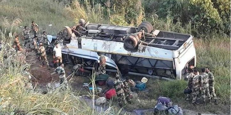 Bus falls in gorge