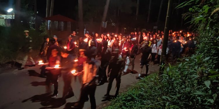 Hundreds of students joined the protest march organized by the North Eastern Hill University Students' Union.