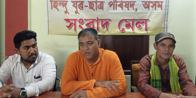 HYCP president Balen Baishya addressing the reporters in Silchar on Saturday evening.