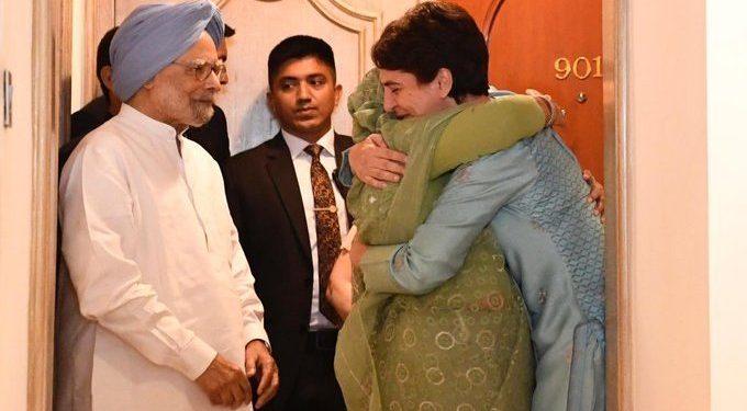 Congress leader Priyanka Gandhi posted a photo of her hugging Sheikh Hasina with former PM Manmohan Singh standing beside them.