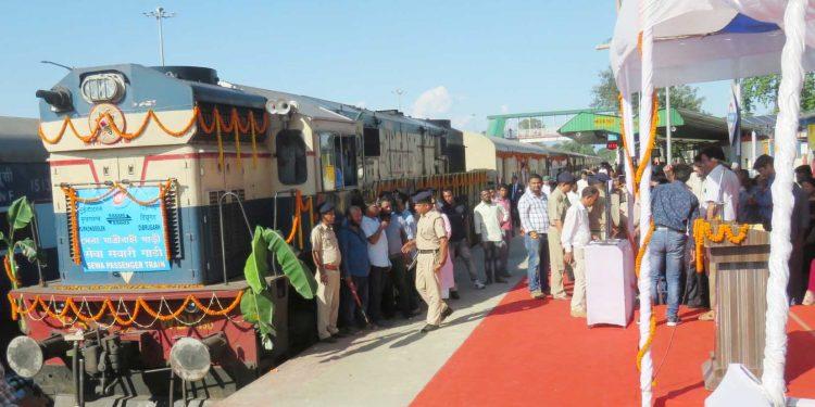 Divisional railway manager (DRM) of Rangiya, NF Railway, V.A. Malegaonkar along with railway officials flagged off the train service at Murkongselek station.