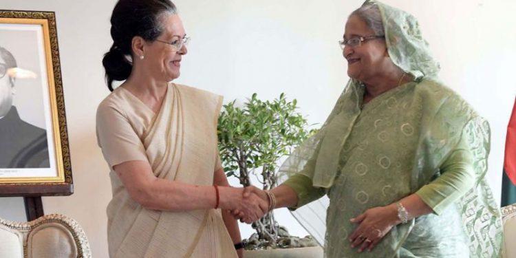 Congress president Sonia Gandhi with Bangladesh Prime Minister Sheikh Hasina in New Delhi on Sunday.