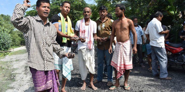Udalguri villagers protest poor road construction work