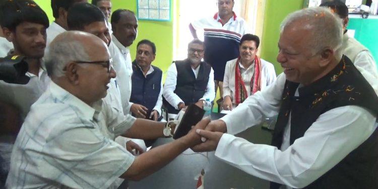Luizinho Faleiro with Tripura Congress leaders in Agartala on Friday.