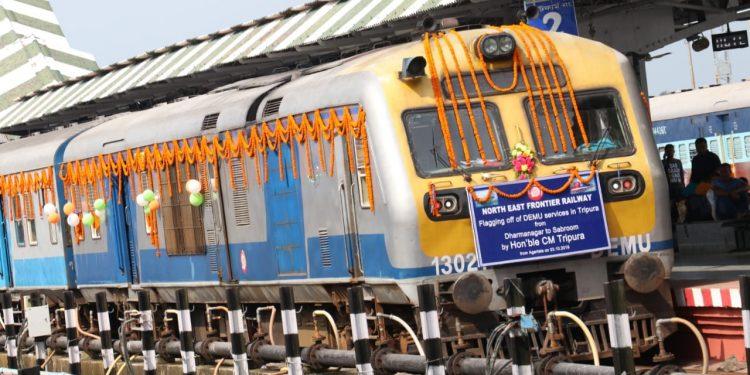 Tripura chief minister Biplab Kumar Deb flagged-off the train services in the Dharmanagar-Agartala-Sabroom section.