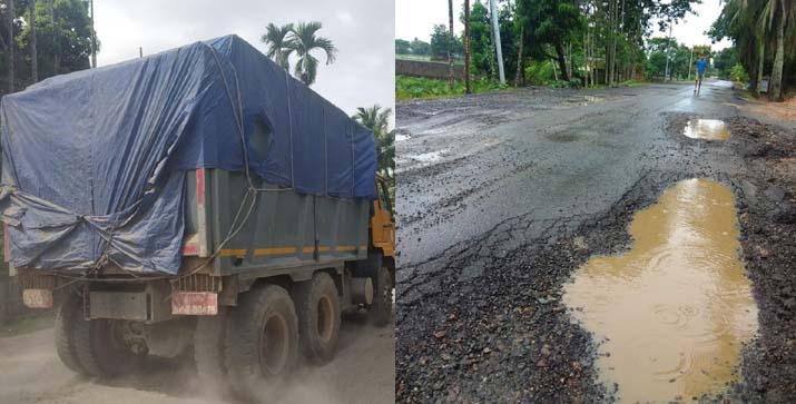 overloaded trucks on AMPT road