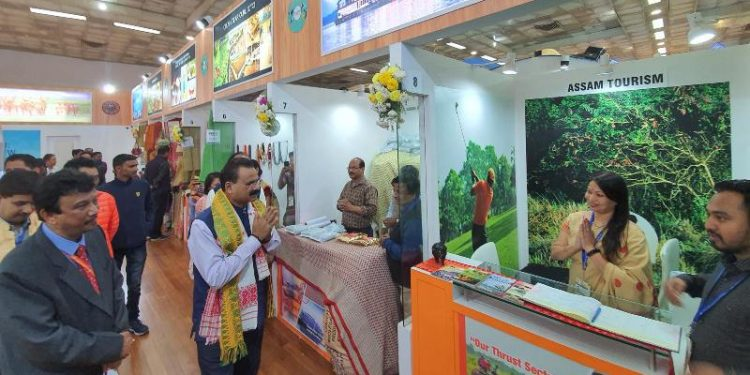 Assam industries and commerce minister Chandra Mohan Patowary visits the Assam Pavilion on Saturday.