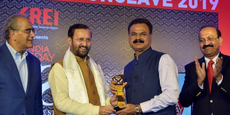 Assam industries and commerce minister Chandra Mohan Patowary receiving the 'India Today State of the States Conclave and Award' from union minister Prakash Javadekar in New Delhi on November 22, 2019. Handout image