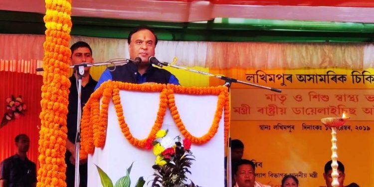 Assam health minister Himanta Biswa Sarma in Lakhimpur on Sunday. Image: Northeast Now