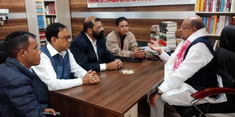 NESO leaders with JD (U) general secretary KC Tyagi in New Delhi on Saturday.