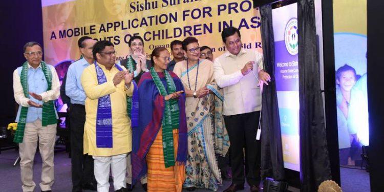 Assam CM Sarbananda Sonowal on Thursday launches the mobile app Shishu Suraksha in Guwahati.
