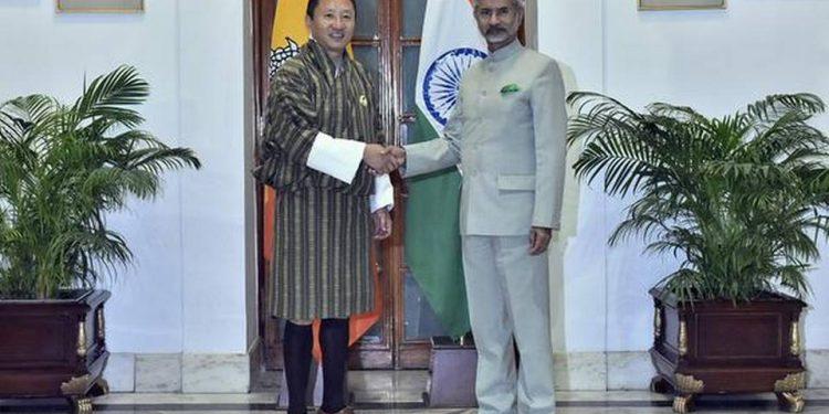 Bhutan Foreign Minister Tandi Dorji with External Affairs Minister S. Jaishankar in New Delhi.