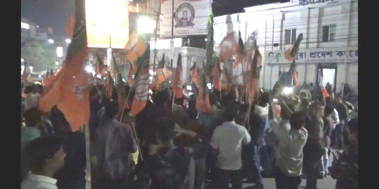 BJYM protest at Agartala