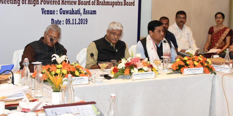 Assam CM Sarbananda Sonowal speaking at the meeting in Guwahati on Saturday.