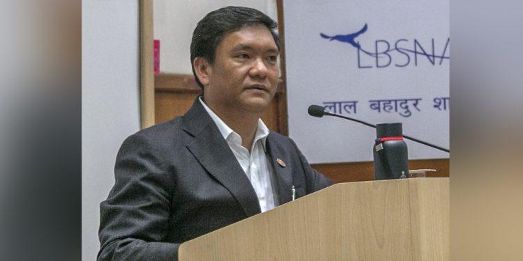 Arunachal Pradesh CM Pema Khandu addressing the gathering. Image: Northeast Now