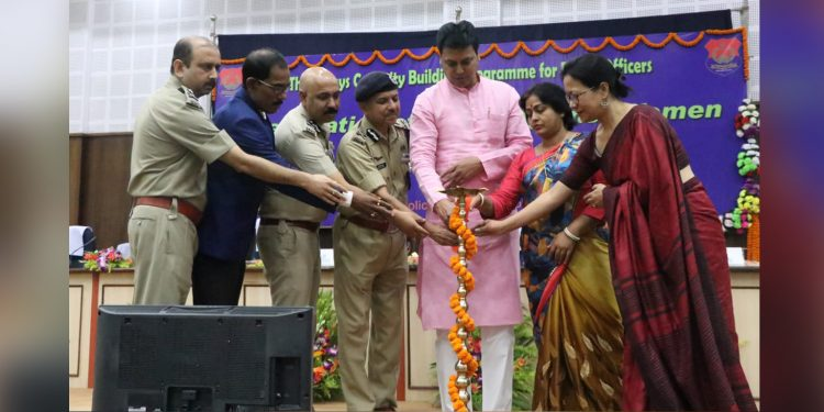 CM Biplab Deb and other dignitaries during the inauguration of three-day capacity building programme for police officers. Image credit: Twitter