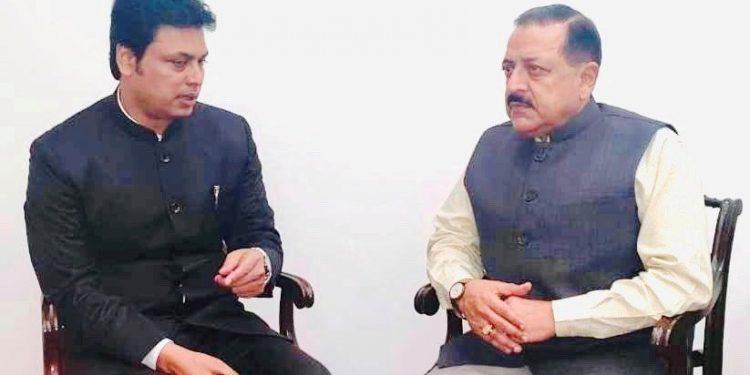 DoNER minister Jitendra Singh with Tripura chief minister Biplab Kumar Deb in New Delhi on Monday.