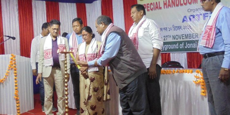 A view of the inaugural ceremony of 'Special Handloom Expo 2019-20' at Dhemaji on Wednesday.  Image credit - Northeast Now