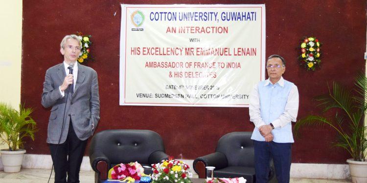 French Ambassador Emmanuel Lenain while interacting with students of Cotton University in Guwahati on Monday. Image: Cotton University
