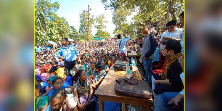 Pradyot Deb Barman at Bru camps on Wednesday. Image: Northeast Now