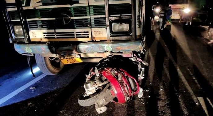 The scooty which hit the stranded truck in Gelabil near Orang over the NH-15 in Udalguri on November 20, 2019. Image: Northeast Now