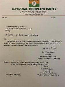 Meghalaya: NPP expels KHADC chairman 1