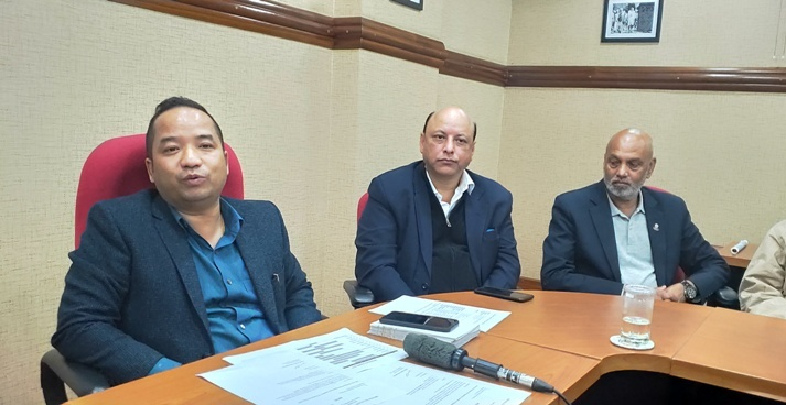 Meghalaya sports minister Banteidor Lyngdoh speaking to reporters in Shillong on Monday.