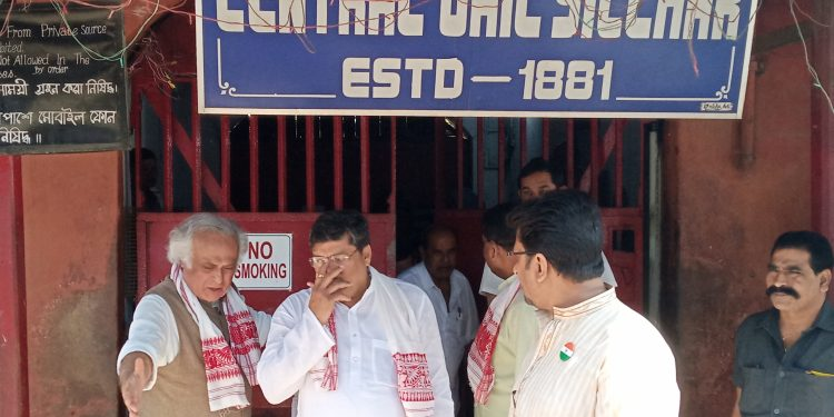 Senior Congress leader Jairam Ramesh visits Silchar detention centre on Thursday.
