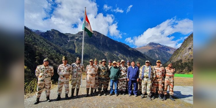 Arunachal Speaker with security personnel at Lamang post. Image: Northeast Now