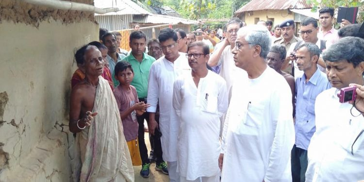 For CM Manik Sarkar in conversation with the victim's mother. Image: Northeast Now