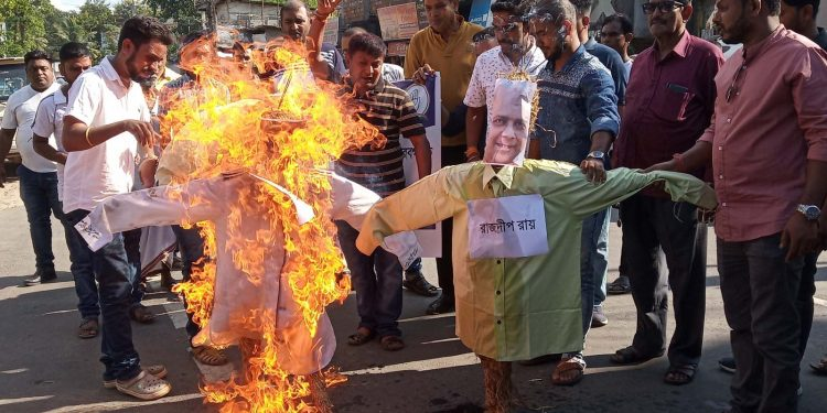 Effigy burning at Silchar