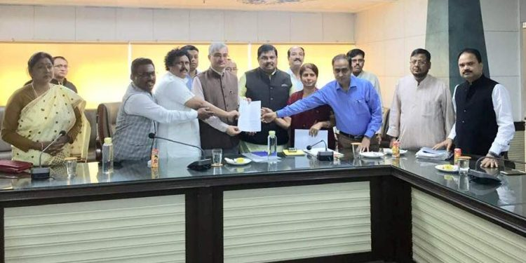 A Congress delegation led by former minister Rokybul Hussain calls on RGI Vivek Joshi in New Delhi on Tuesday.