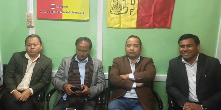PDF leaders speaking to reporters in Shillong on Tuesday.